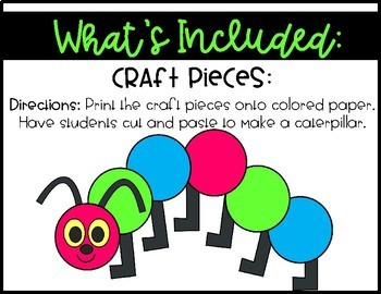 The Very Hungry Caterpillar~ Craft and Writing