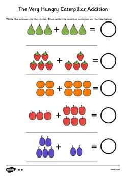 The Very Hungry Caterpillar Differentiated Addition Sheet