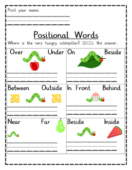 Positional Words Worksheets- The Very Hungry Caterpillar