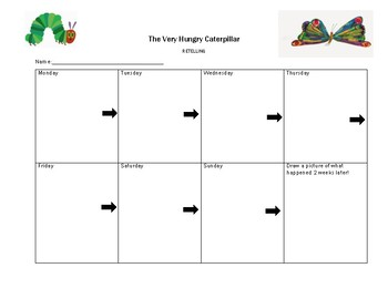 The Very Hungry Caterpillar Retelling Worksheet