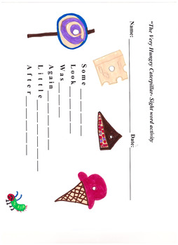 The Very Hungry Caterpillar Sight word Activity Sheet