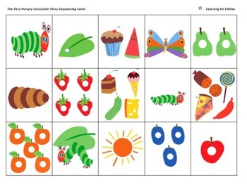 The Very Hungry Caterpillar cut and paste activity cards