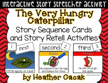 The Very Hungry Caterpillar Story Sequence Retelling Cards (Math and Literacy)