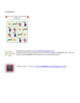 The Very Hungry Caterpillar Sudoku Puzzle (Beginner Level)