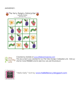 The Very Hungry Caterpillar Sudoku Puzzle (Easy Level)