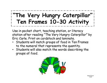 The Very Hungry Caterpillar Ten Frames Match 10-30