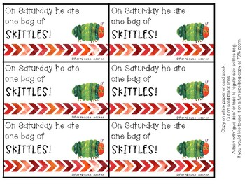 The Very Hungry Caterpillar Themed Skittle Gift Tags