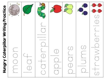 The Very Hungry Caterpillar Word Wall and Vocabulary Handwriting