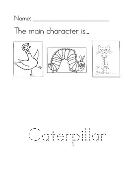 The Very Hungry Caterpillar main character worksheet