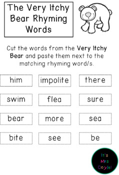 The Very Itchy Bear Rhyming Word Cards