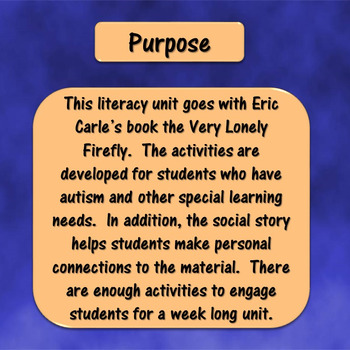 The Very Lonely Firefly Literacy Unit for Special Education