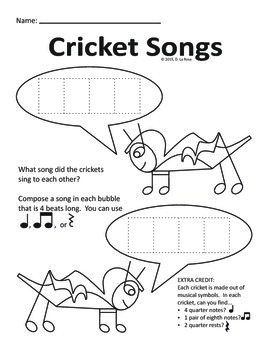 The Very Quiet Cricket - Music Composition/Coloring Page