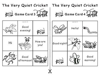 The Very Quiet Cricket by Eric Carle -Tic Tac Toe Bingo Game Cards