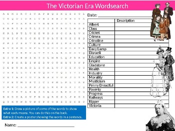The Victorians Era Wordsearch Puzzle Sheet Starter Activity Keywords History