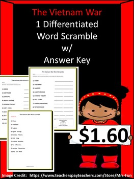 The Vietnam War - Differentiated Word Scramble w/ Answer Key
