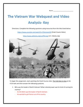 The Vietnam War- Webquest and Video Analysis with Key