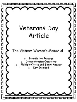 The Vietnam Women's Memorial - Veterans Day, CCSS Aligned, Key Included