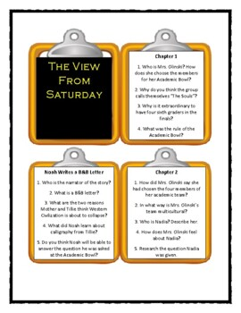 THE VIEW FROM SATURDAY by E.L. Konigsburg - Discussion Cards (Distance Learning)