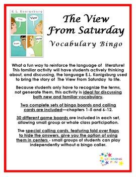 The View From Saturday Vocabulary Bingo
