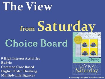 The View from Saturday Choice Board Novel Study Activities Menu Book Project
