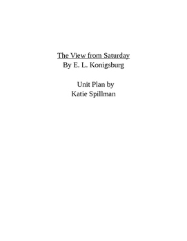 The View from Saturday by E. L. Konigsburg Unit Plan - Common Core