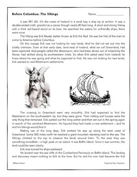 The Vikings in North America: Informational Passage and Assessment