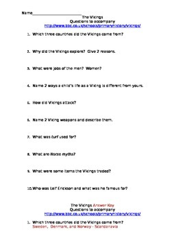 The Vikings - questions to accompany BBC site