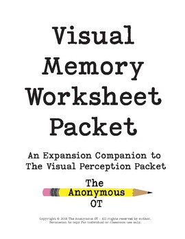 The Visual Memory Worksheet Packet