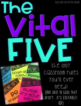 The Vital Five: Classroom Rules EDITABLE