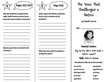 The Voice That Challenged a Nation Trifold - Journeys 6th Grade Unit 5 Week 4
