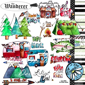 The Wanderer - Camping - Outdoors - Mountains Line/ClipArt Set