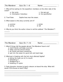 The Wanderer Novel Study Chapter Quizzes