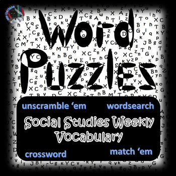 Social Studies~Vocabulary Terms Puzzles~Review Studies Weekly