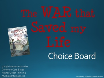 The War That Saved My Life Choice Board Tic Tac Toe Novel Activities Assessment