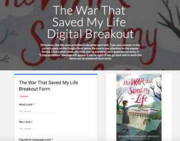 The War That Saved My Life Digital Breakout Escape Room