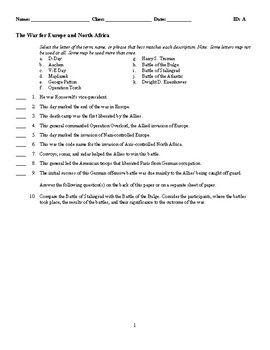 The War for Europe and North Africa - (Quiz or Study Guide)