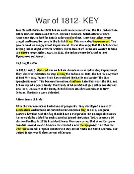 The War of 1812 --  CLOZE Reading