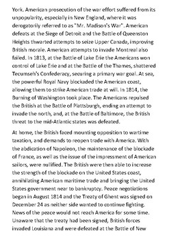 The War of 1812 Handout
