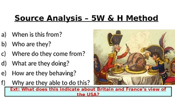 The War of 1812 Source Analysis sheet as PPT - Britain v France