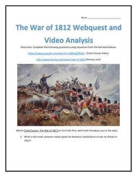 The War of 1812- Webquest and Video Analysis with Key
