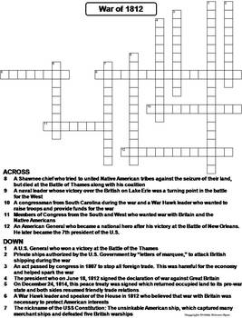 the war of 1812 worksheet crossword puzzle by science spot tpt. Black Bedroom Furniture Sets. Home Design Ideas