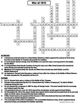 The War of 1812 Worksheet/ Crossword Puzzle