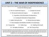 U.S. History - War of Independence Unit - 1st Continental Congress to Yorktown