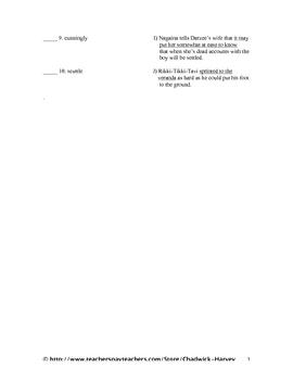The War of the Wall and Rikki-Tikki-Tavi Vocabulary Quiz Worksheet