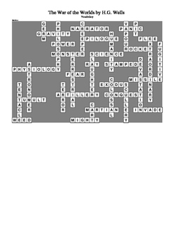 The War of the Worlds by H.G. Wells - Vocabulary Crossword