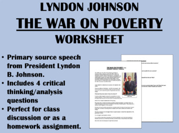 """The War on Poverty"" - Lyndon Johnson - 1960s - USH/APUSH"