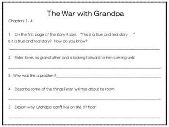 The War with Grandpa ~ 41 pgs of Common Core Activities