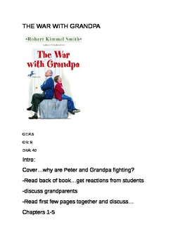 The War with Grandpa- Guided Reading Group/Literature Circle Notes