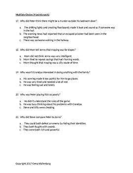 The War with Grandpa - Test and Study Guide