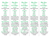 The War with Grandpa ed. of Bookmarks Plus: Fun Freebie/Handy Reading Aid!